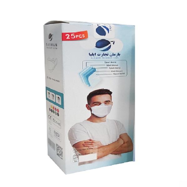 ماسک تنفسی بارمان مدل سه بعدی پنج لایه بسته 25 عددی