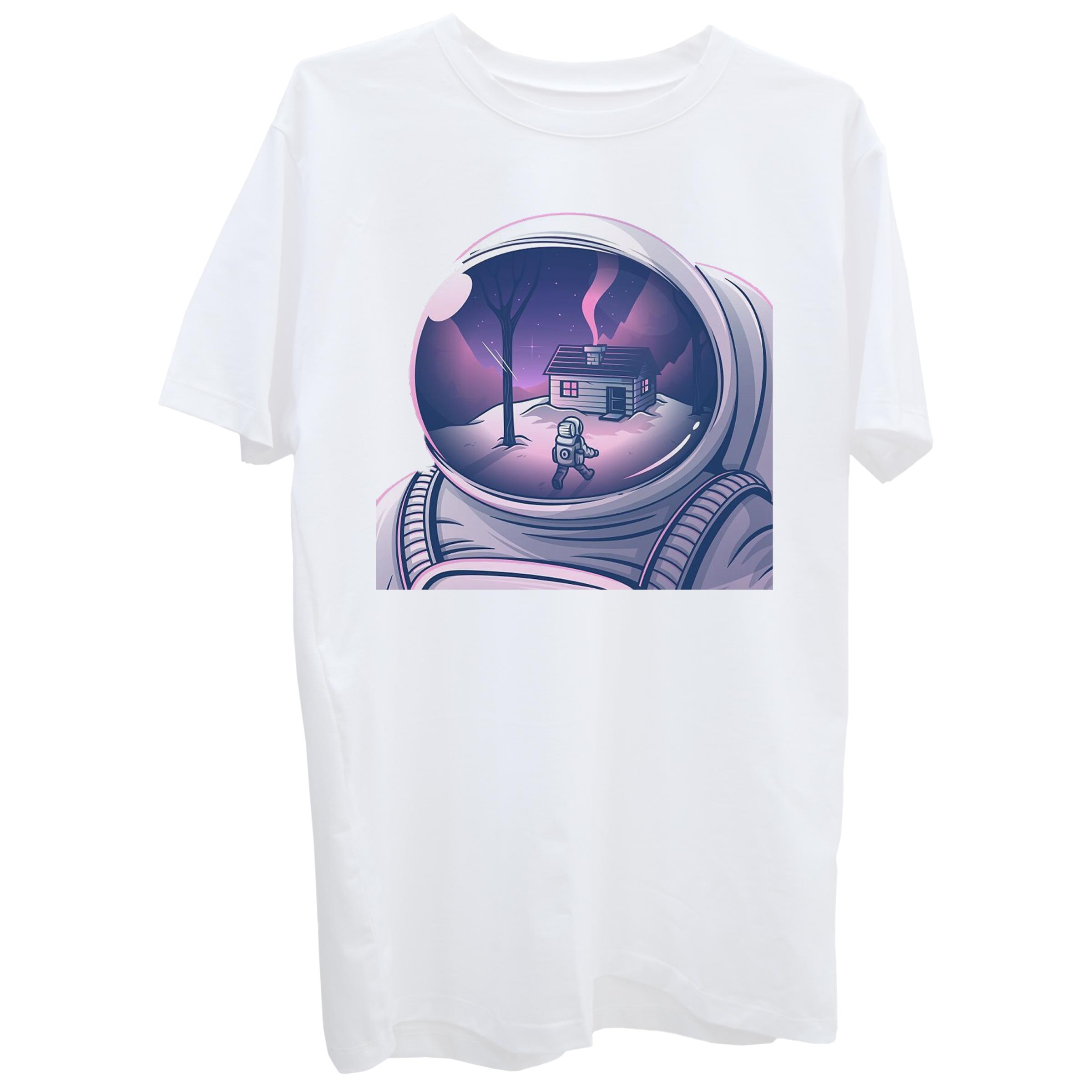 تی شرت آستین کوتاه زنانه طرح فضانورد کد Z377 -  - 2