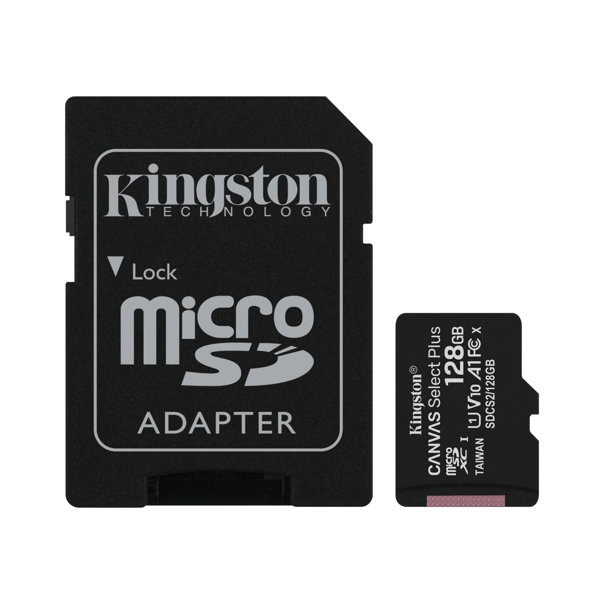 کارت حافظه microSDXC کینگستون مدل CANVAS کلاس 10 استاندارد UHS-I U1 سرعت 100MBps ظرفیت 128 گیگابایت به همراه  آداپتور SD
