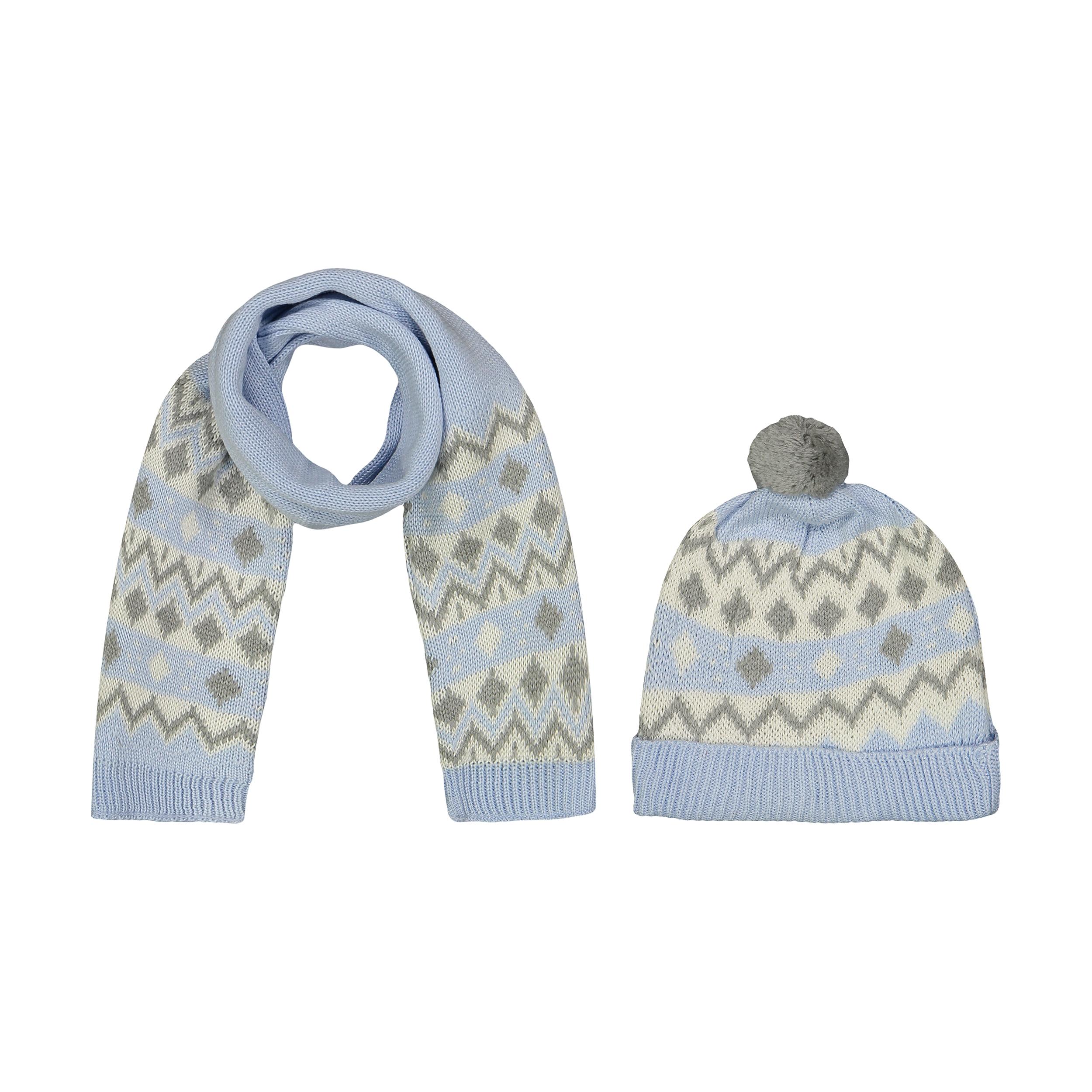 ست کلاه و شال گردن بافتنی نوزادی فیورلا کد 2799