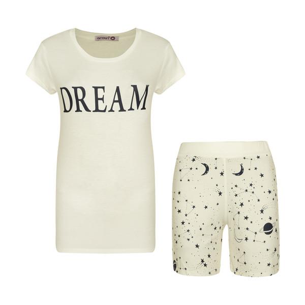ست تی شرت و شلوارک زنانه افراتین مدل Dream کد 6558 رنگ شیری