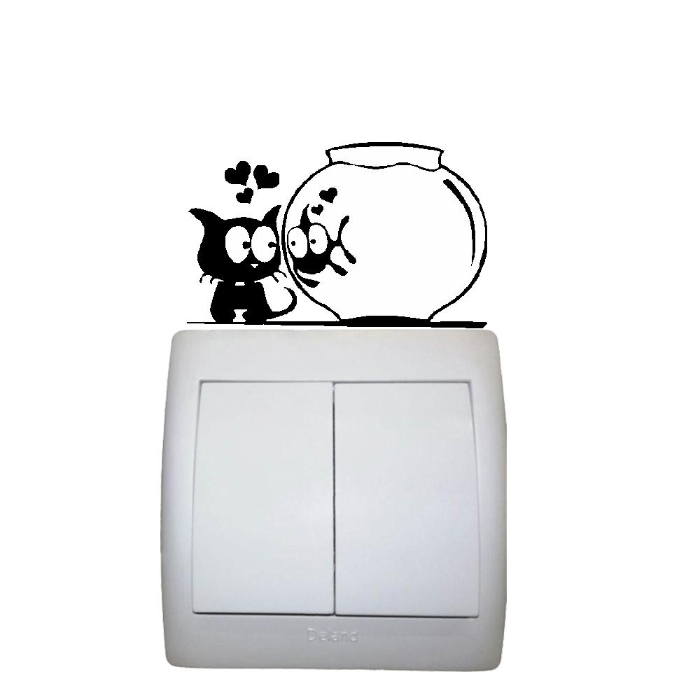 استیکر فراگراف کلید و پریز FG طرح گربه و ماهی کد 018