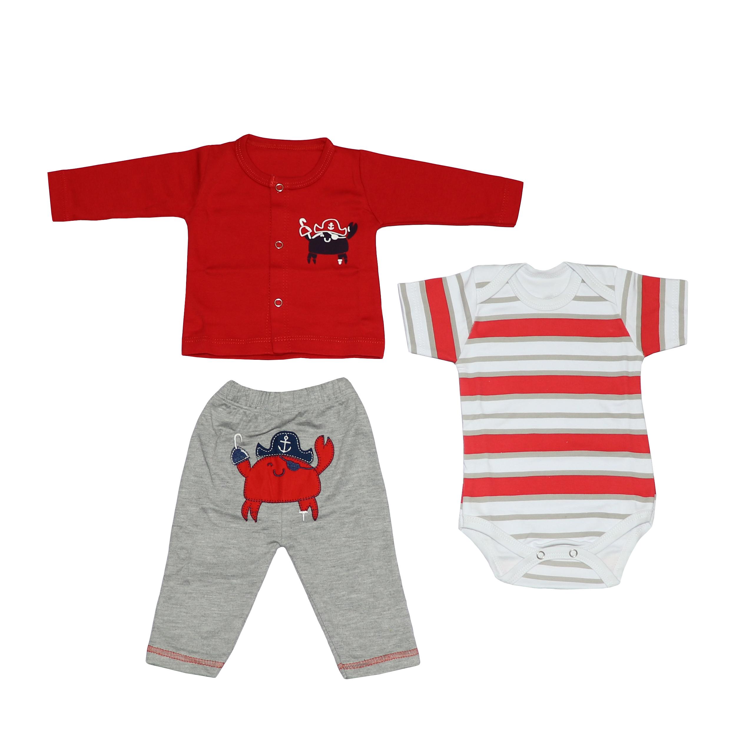 ست 3 تکه لباس نوزادی پسرانه طرح خرچنگ کد 103