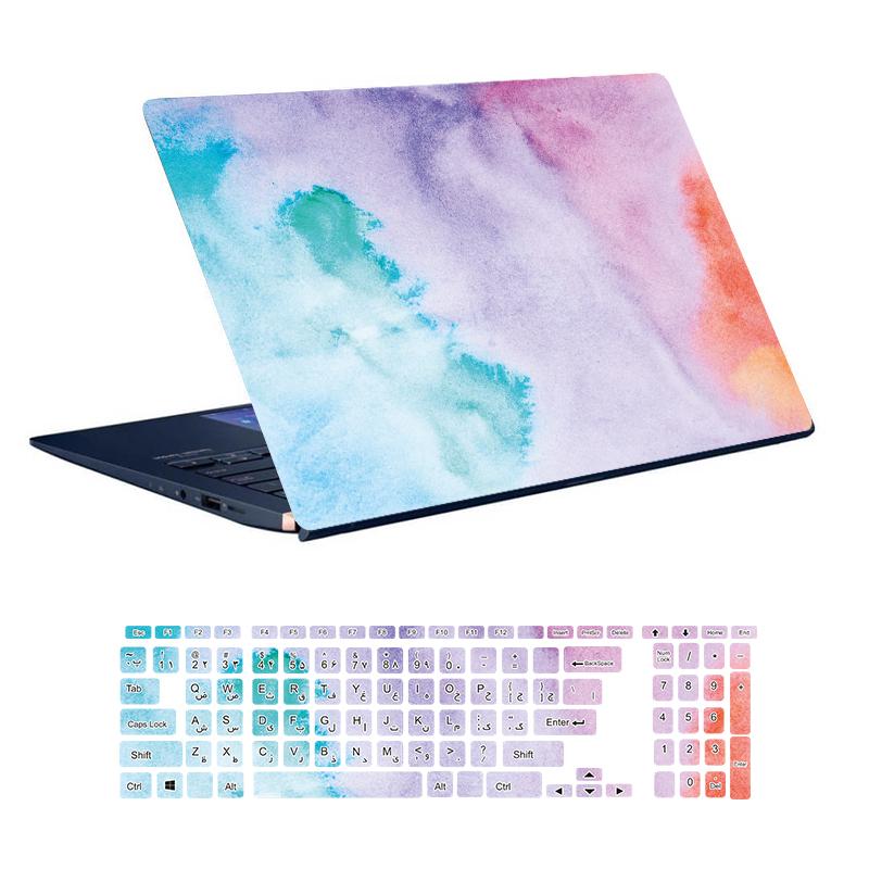 استیکر لپ تاپ توییجین و موییجین طرح Colorful کد 72 مناسب برای لپ تاپ 15.6 اینچ به همراه برچسب حروف فارسی کیبورد