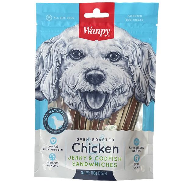 غذای تشویقی سگ ونپی مدل chicken jurky & codfish sandwiches کد 01وزن 100 گرم