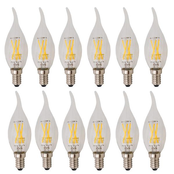 لامپ ال ای دی فیلامنتی 4 وات زد اف آر پایه E14 بسته 12 عددی