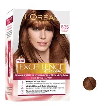کیت رنگ مو لورآل سری Excellence شماره 6.35 حجم 48 میلی لیتر رنگ قهوه ای کهربایی