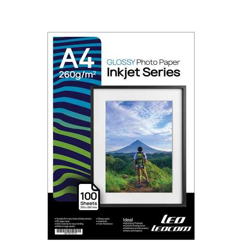 کاغذ چاپ عکس گلاسه لیوکام مدل 260 گرمی سایز A4 بسته 100 عددی