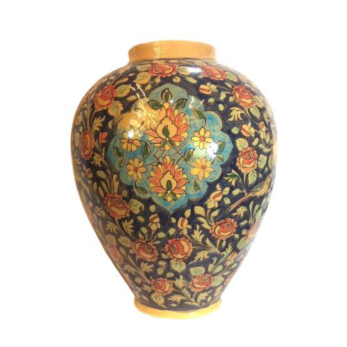 گلدان سفالی لوح هنر طرح گل و پرنده کد 973