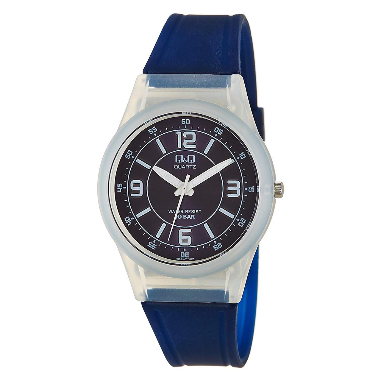 ساعت مچی عقربه ای کیو اند کیو مدل vq50j007y به همراه دستمال مخصوص برند کلین واچ