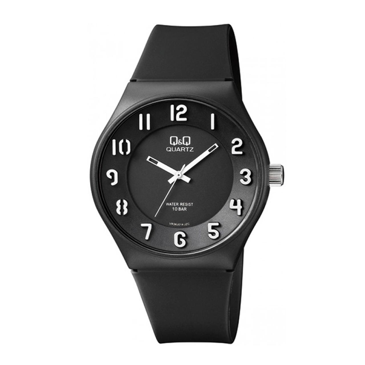 ساعت مچی عقربه ای مردانه کیو اند کیو مدل vr36j014y به همراه دستمال مخصوص برند کلین واچ 40