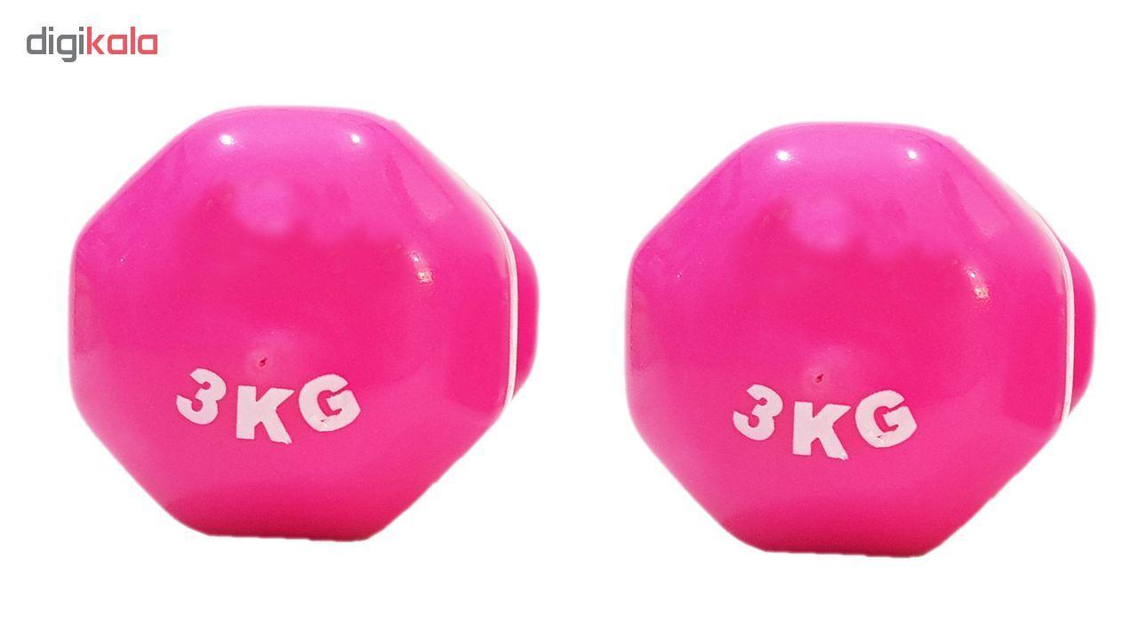 دمبل ایروبیک روکش دار 3 کیلوگرمی مدل 01-Pink بسته دو عددی main 1 2