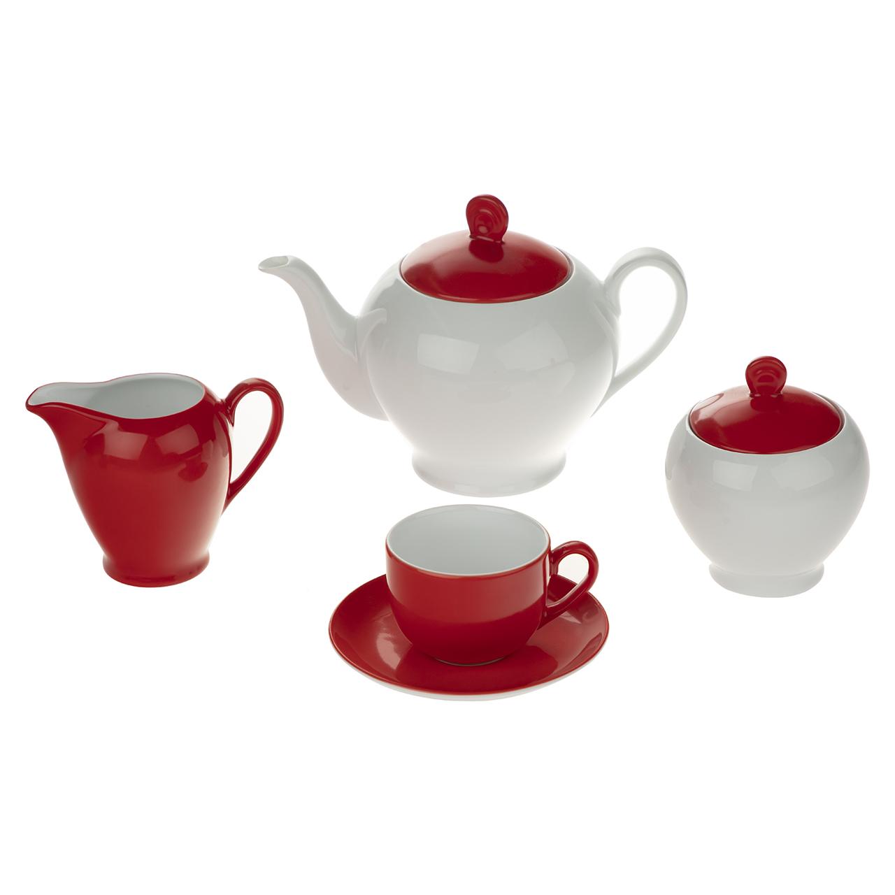 سرویس چای خوری 17 پارچه چینی زرین ایران سری ایتالیا اف مدل آیریس درجه عالی