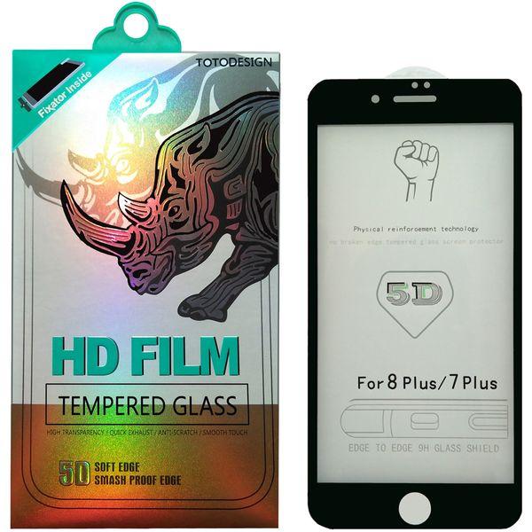 محافظ صفحه نمایش توتو مدل HD1075D تمام چسب مناسب برای گوشی موبایل اپل iPhone 8/7 Plus