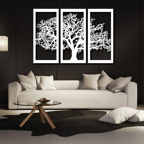 تابلو ۳ تکه سالی وان مدل درخت رنگ سفید