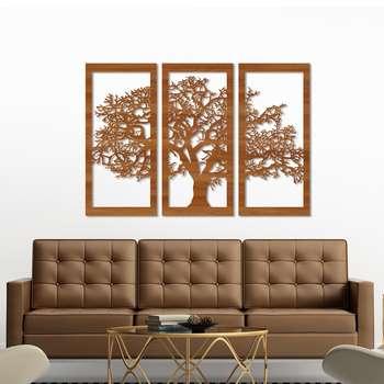 تابلو ۳ تکه سالی وان مدل درخت رنگ قهوه ای