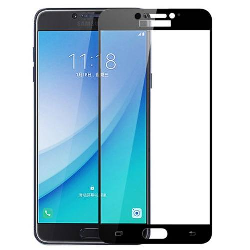 محافظ صفحه نمایش شیشه ای تمپرد مدل Full Cover مناسب برای گوشی موبایل سامسونگ Galaxy C7 Pro