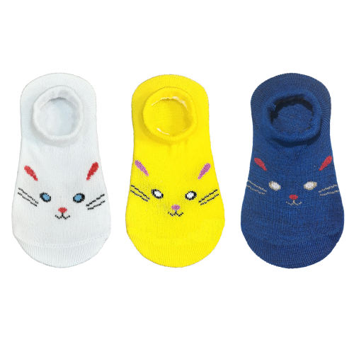 جوراب نوزادی طرح cat بسته 3 عددی