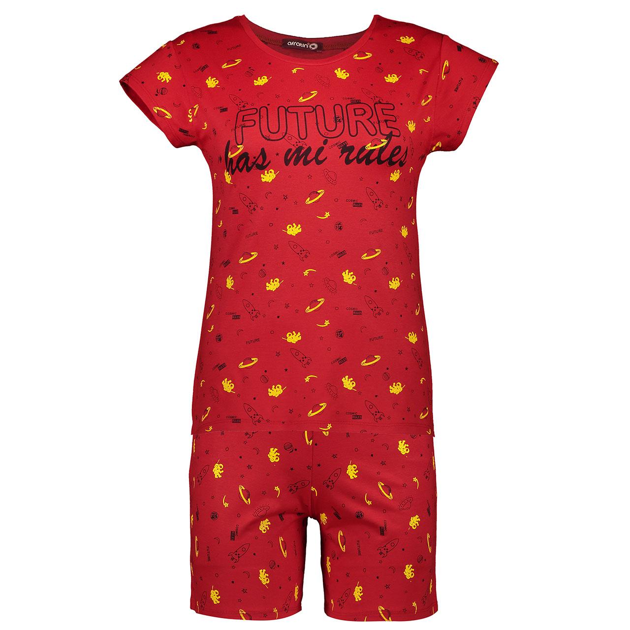 ست تی شرت و شلوارک زنانه افراتین کد 6514 رنگ قرمز