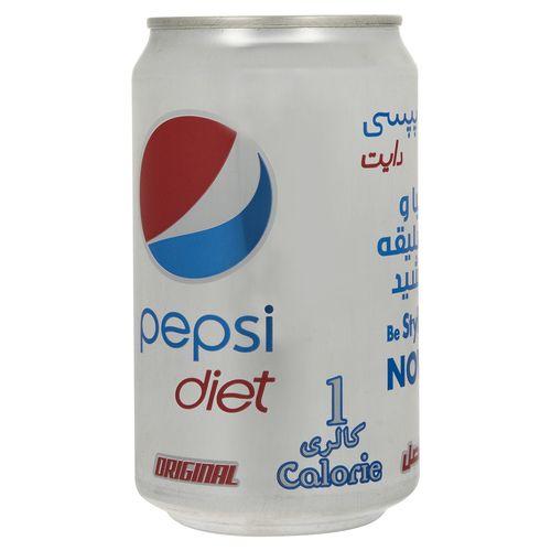 نوشابه گاز دار با طعم کولا دایت پپسی مقدار 0.33 لیتر