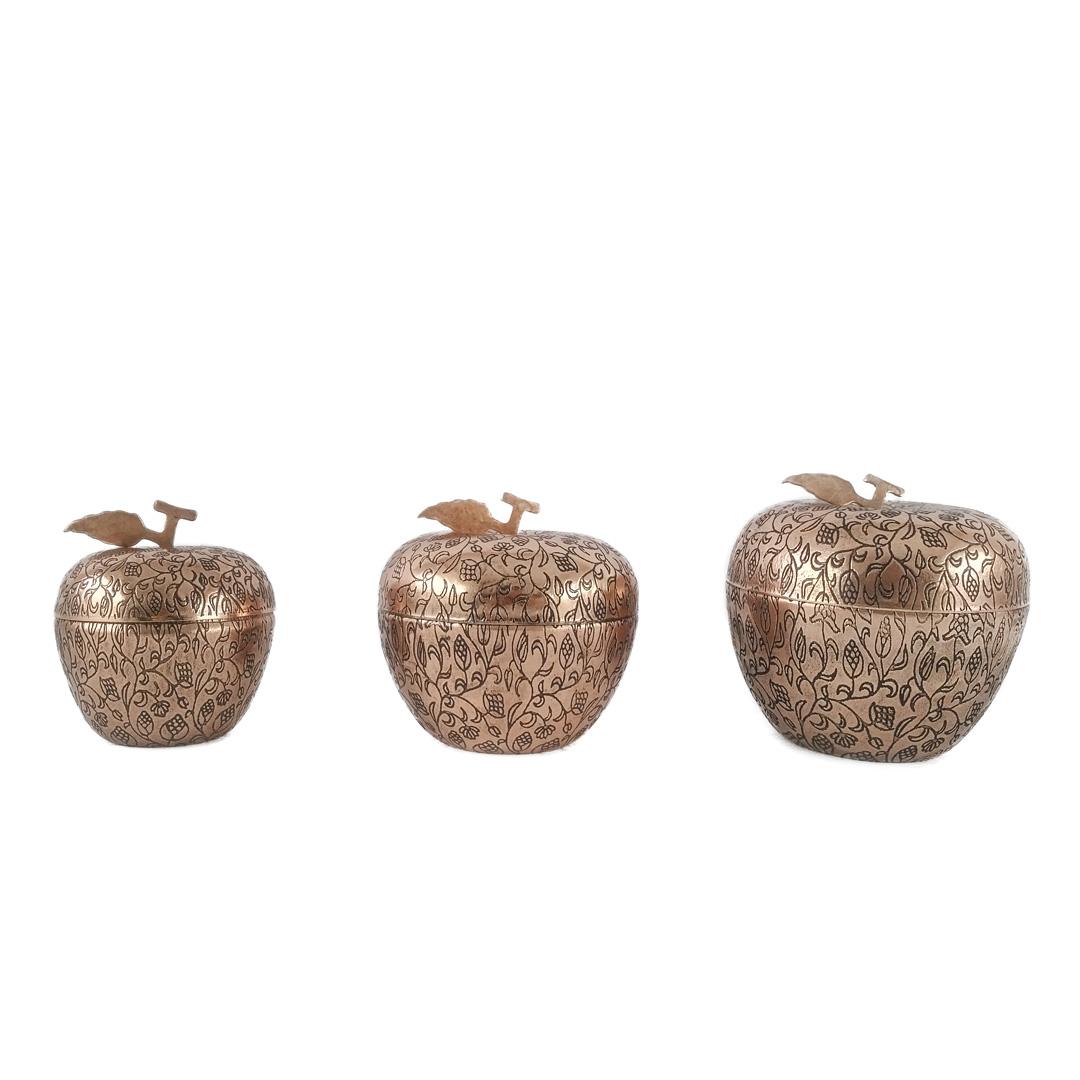 قندان مسی طرح سیب کد 4002 مجموعه 3 عددی