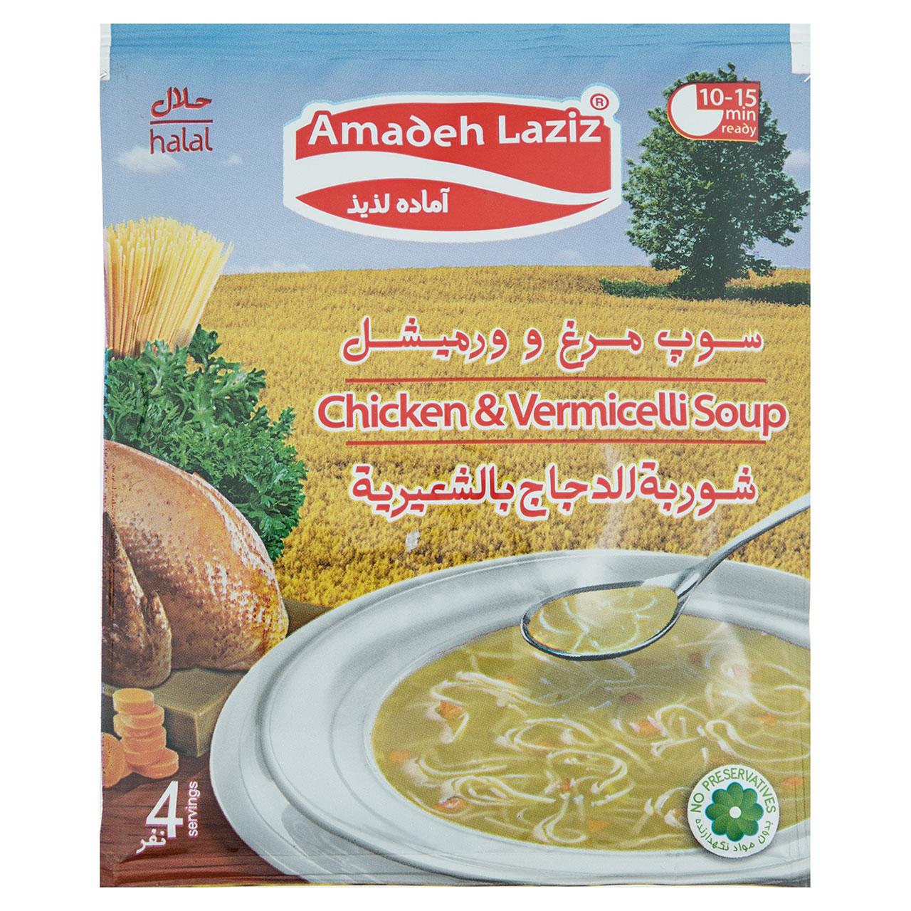 سوپ مرغ و ورمیشل آماده لذیذ مقدار 65 گرم