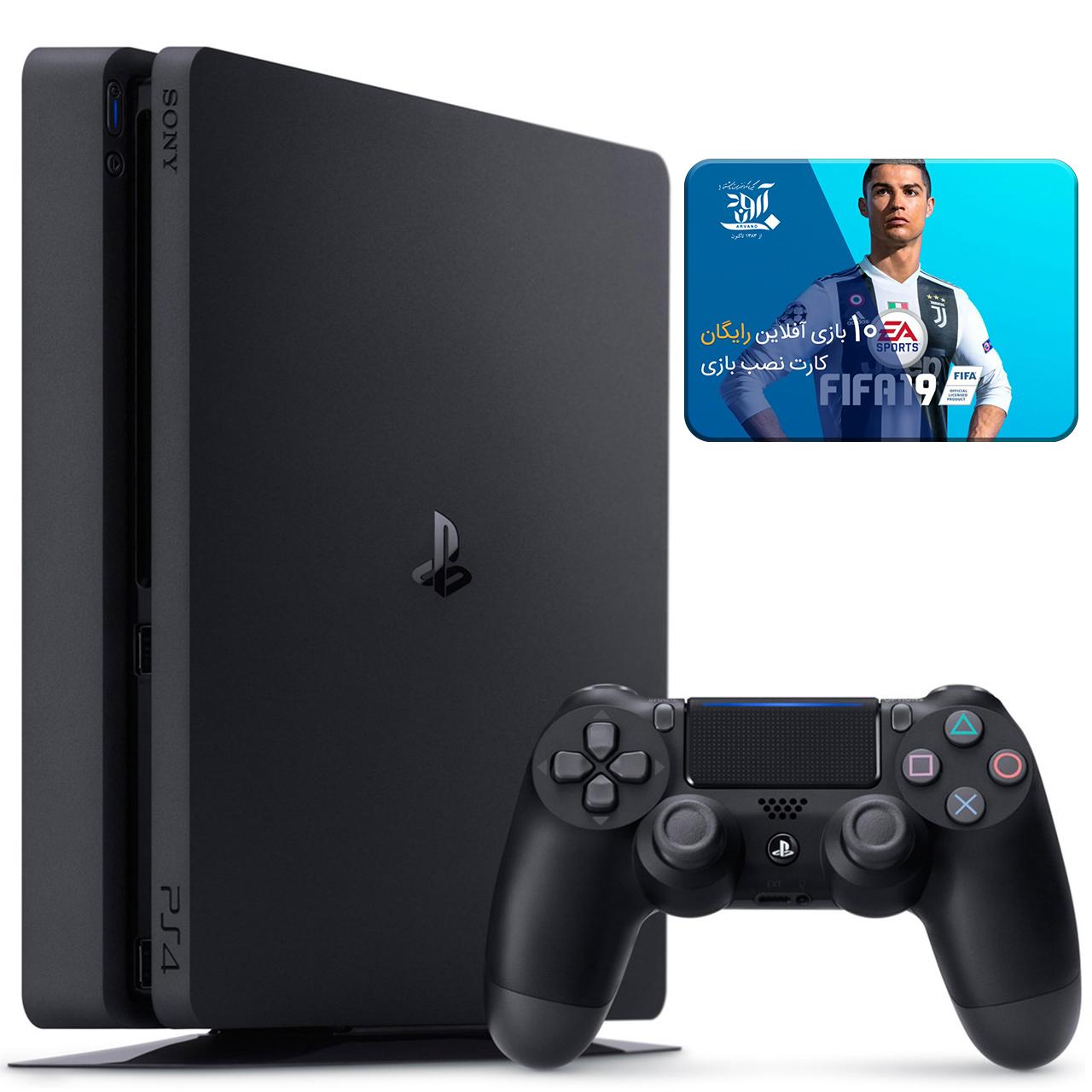 کنسول بازی سونی مدل Playstation 4 Slim کد CUH-2216A Region 2 - ظرفیت 500 گیگابایت به همراه ۱۰ عدد بازی 2019