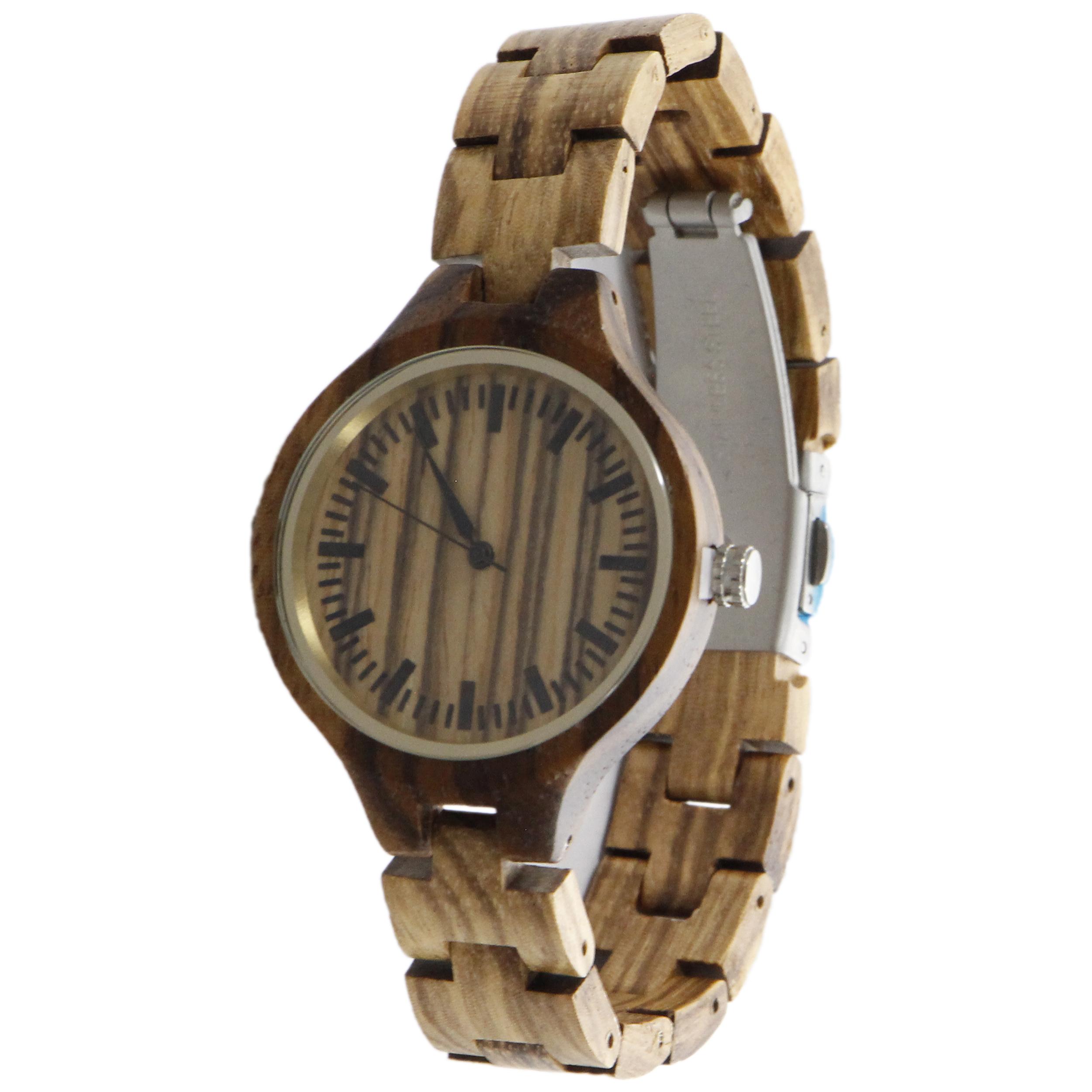 ساعت مچی چوبی عقربه ای زنانه - کد BMK24