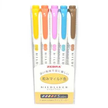 ماژیک علامت گذار دو سر زبرا  مدل Mildliner طرح Deep and Warm Colors بسته 5 عددی