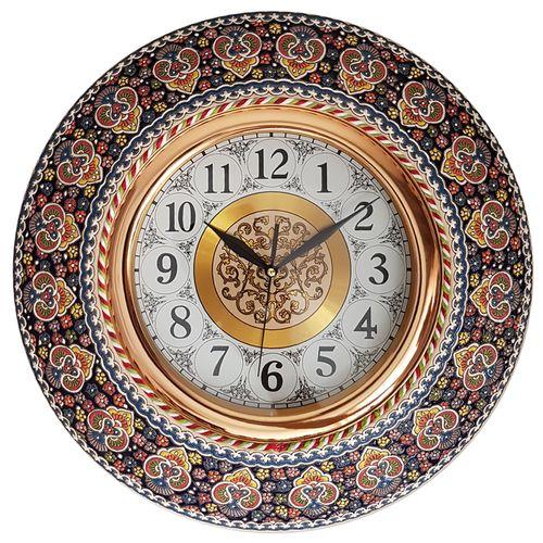 ساعت دیواری سفالی میناکاری لازاپونی طرح نفیس کد L104z قطر 42 سانتی متر- اندازه بزرگ هفت سین