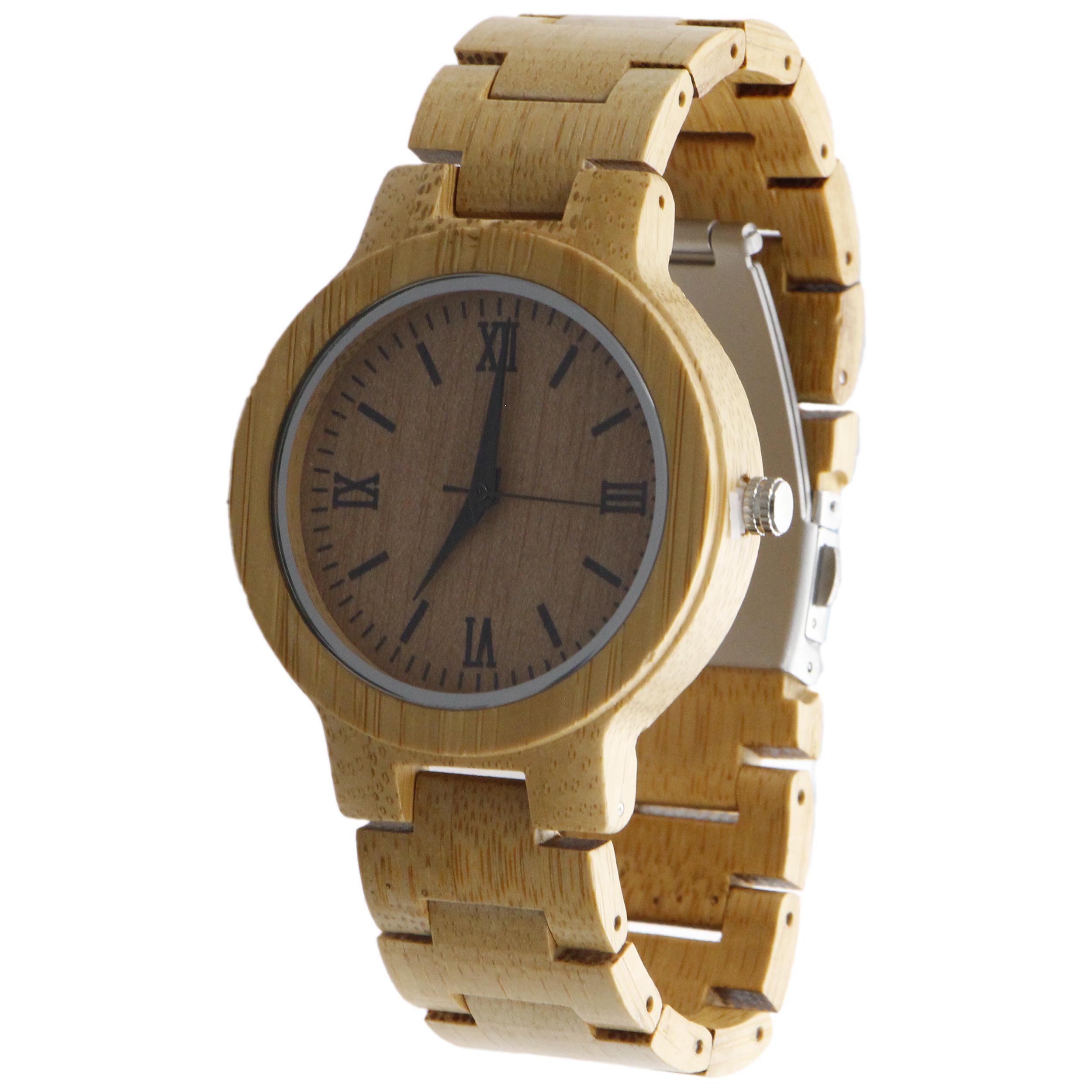ساعت مچی چوبی عقربه ای - کد BMK27