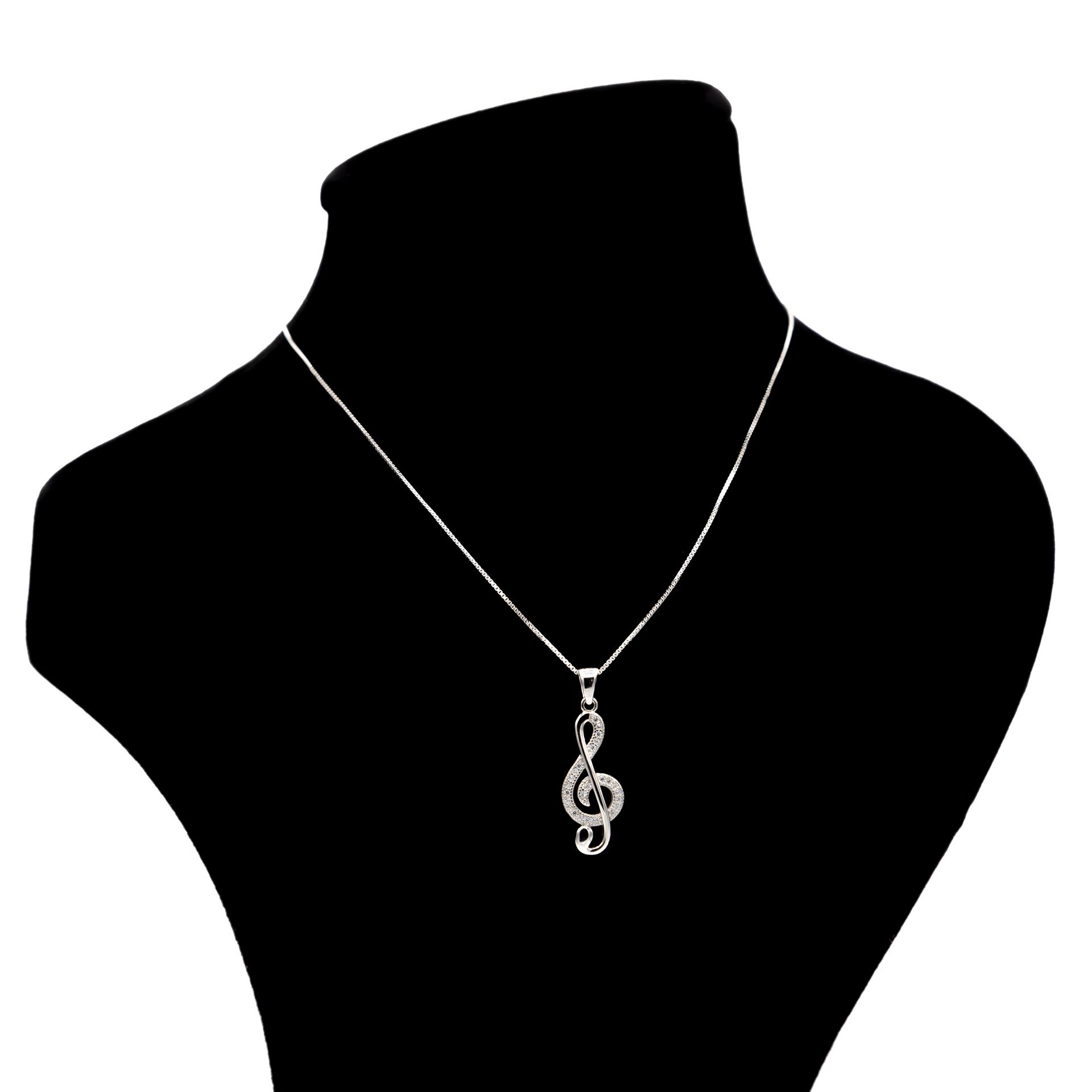 عکس گردنبند نقره بهارگالری مدل کلید سل کد 405013