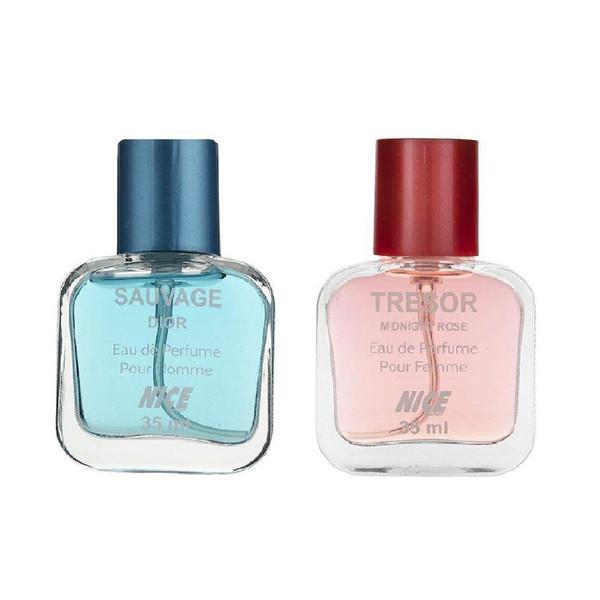 عطر جیبی زنانه نایس پاپت مدل Tresor Midnight Rose حجم 35 میلی لیتر به همراه عطر جیبی مردانه نایس پاپت مدل Sauvage Dior