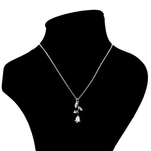 گردنبند نقره بهارگالری مدل شاخه گل رز کد 402007