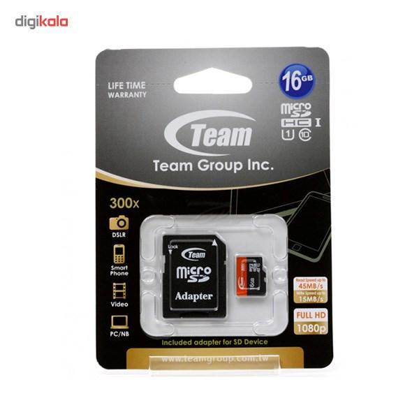 کارت حافظه microSDHC تیم گروپ کلاس 10 استاندارد UHS-I U1 سرعت 45MBps به همراه آداپتور SD ظرفیت 16 گیگابایت