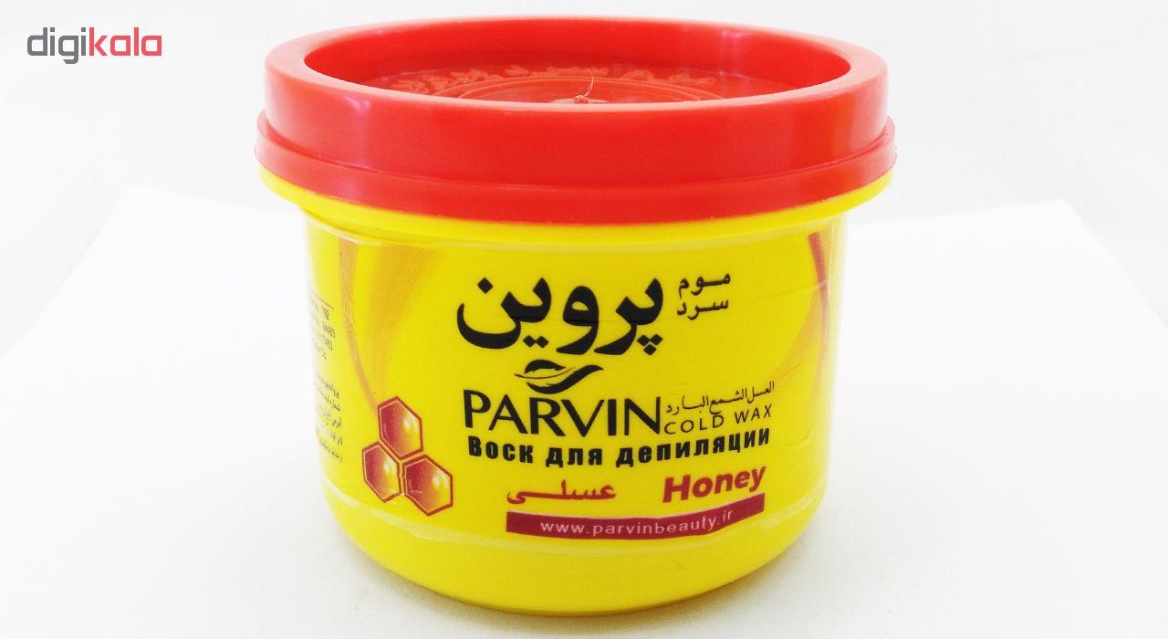 موم سرد پروین مدل Honey حجم 300 گرم همراه با کاردک، پد و کرم نرم کننده و مرطوب کننده