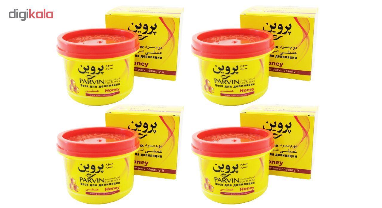 موم سرد پروین مدل Honey حجم 300 گرم همراه با کاردک، پد و کرم نرم کننده و مرطوب کننده بسته 4 عددی main 1 2
