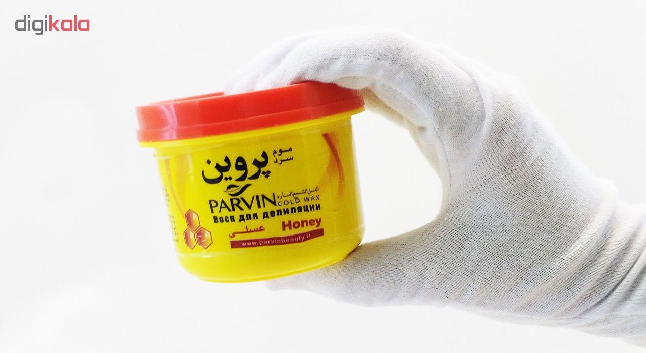 موم سرد پروین مدل Honey حجم 300 گرم همراه با کاردک، پد و کرم نرم کننده و مرطوب کننده  main 1 11