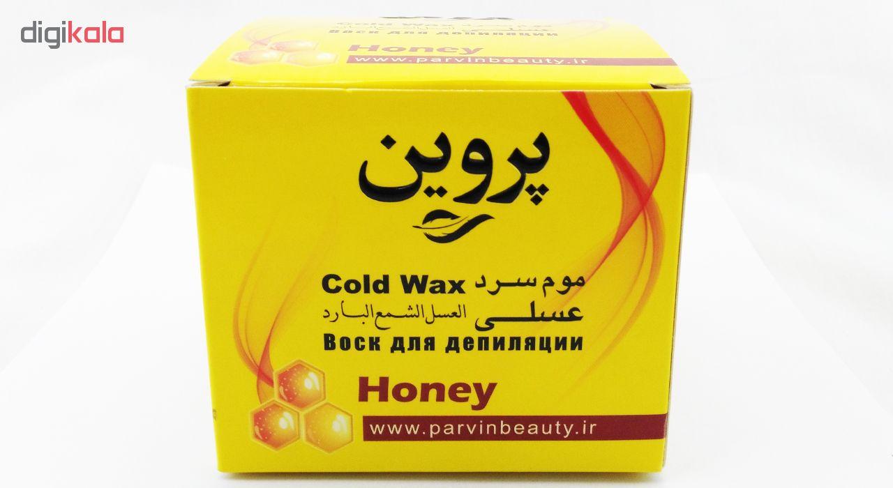 موم سرد پروین مدل Honey حجم 300 گرم همراه با کاردک، پد و کرم نرم کننده و مرطوب کننده بسته 4 عددی