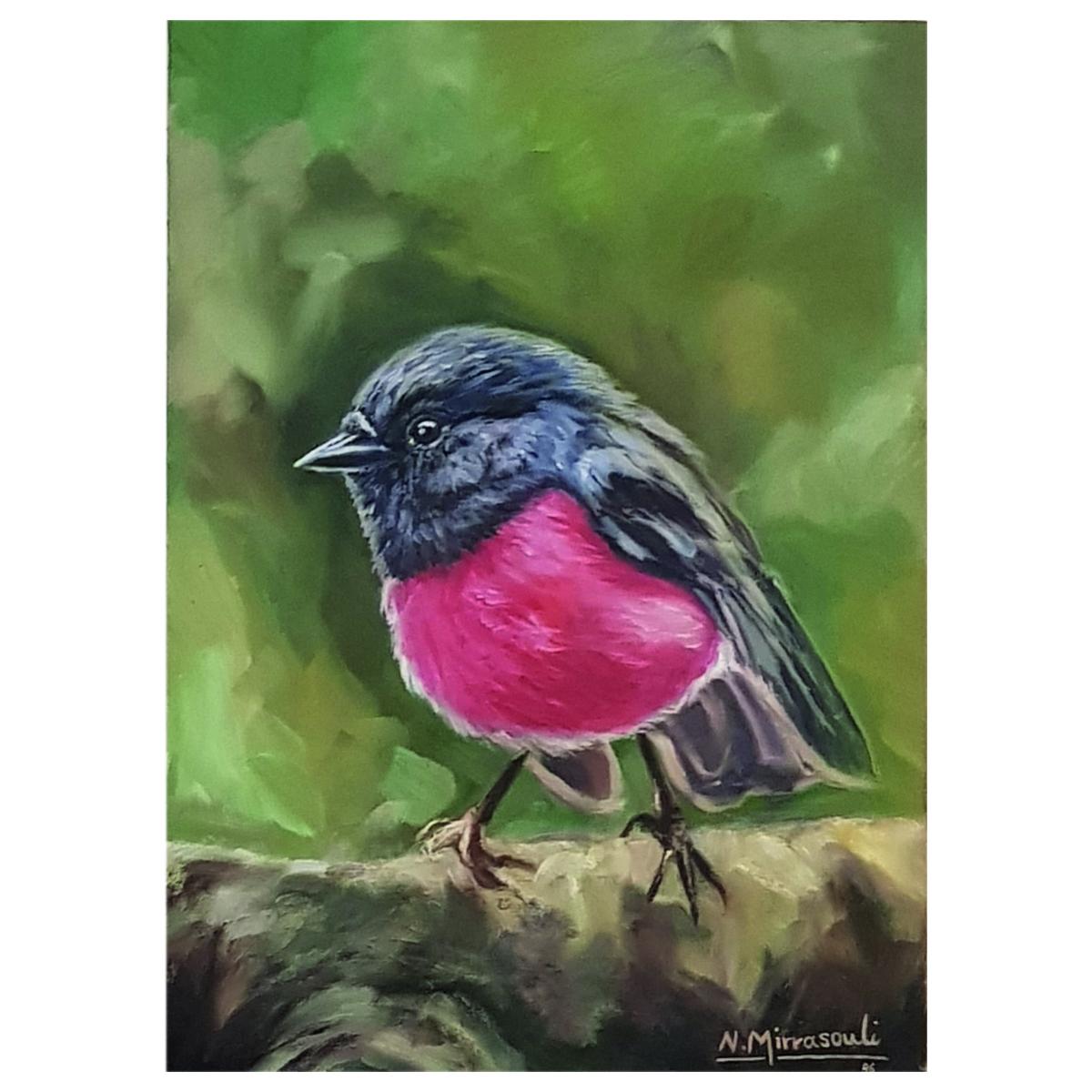 خرید                      تابلو نقاشی رنگ روغن طرح سینه سرخ