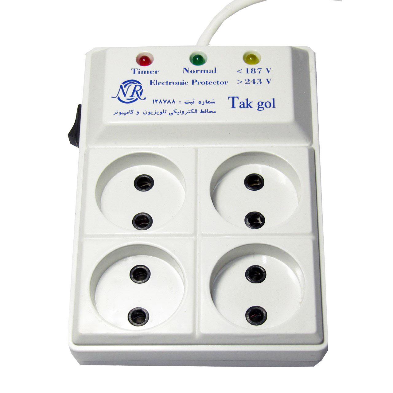 محافظ ولتاژ و چند راهی برق تک گل مدل Electronic 4 Sochets