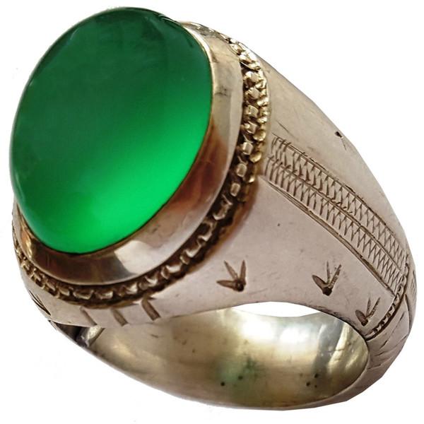 انگشتر نقره جواهرسرا مدل عقیق سبز لامپی a318jw