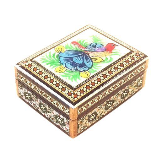 جعبه خاتم لوح هنر طرح گل و مرغ کد 1015
