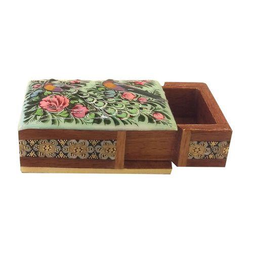 جعبه خاتم لوح هنر طرح گل و پرنده کد 1019 سایز 7 * 5