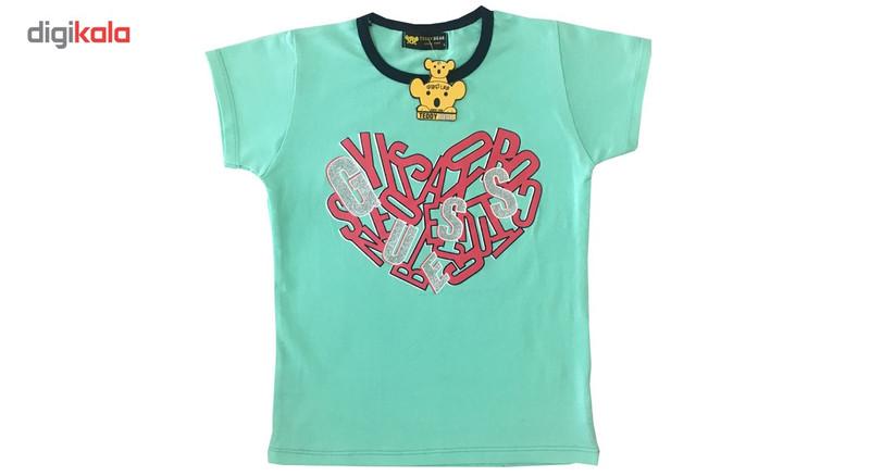 ست تی شرت و ساق دخترانه خرس کوچولو مدل Heart کد 01