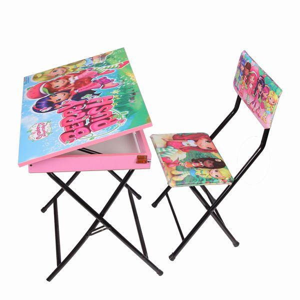 میز تحریر باکسدار و صندلی طرح توت فرنگی (وایت بردی،تاشو،تنظیم شونده ارتفاع)