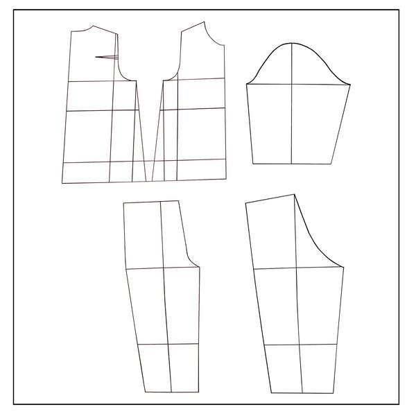 الگو خیاطی بالا تنه و شلوار خردسال متد مولر سایز 5 تا 6 سال