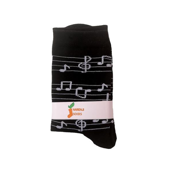 جوراب زنانه نارنجی طرح نوت های موسیقی 21