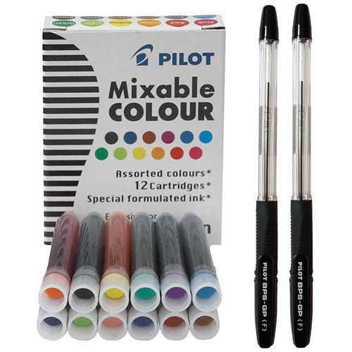 جوهر یدک قلم کالیگرافی پایلوت مدل Mixable Colour به همراه بسته دوعددی خودکار پایلوت BPS-GP