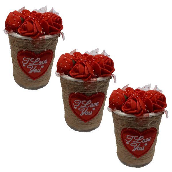 گلدان به همراه گل مصنوعی مدل h121 مجموعه 3 عددی
